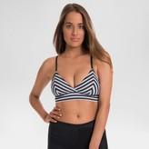 Beach Betty by Miracle Brands Women's Slimming Control Striped Midi Bralette Bikini Swim Top - Black/White - Beach Betty by Miracle Brands