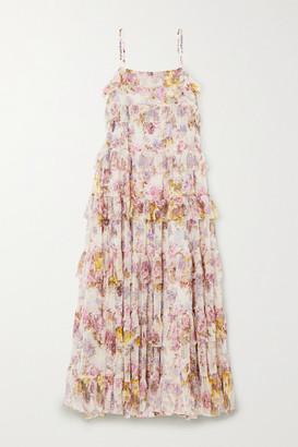 Needle & Thread + Jasmine Hemsley Harmony Ruffled Floral-print Tulle Midi Dress - Ecru