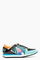 Kenzo Teal Leather & Neoprene Abstract Sneakers
