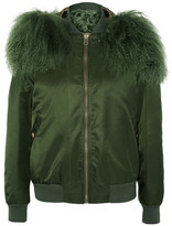 MR & MRS ITALY - Shearling-trimmed Shell Bomber Jacket - Forest green