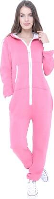 Juicy Trendz Womens Onesie Ladies Hooded Jumpsuit One Piece Pajamas Unisex Sleepsuit Pink