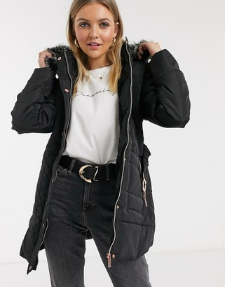 Qed London quilted puffer coat in black