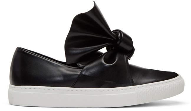 Cédric Charlier Black Bow Slip-On Sneakers