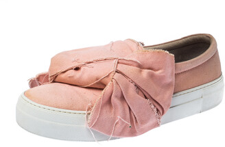 Joshua Sanders Light Pink Canvas Bow Slip On Sneakers Size 40