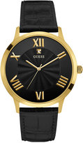 GUESS Men's Diamond Accent Black Leather Strap Watch 43mm U0794G1