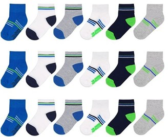 Fruit of the Loom Toddler Boys Breathable Cool Zone Ankle Socks, 18-Pack