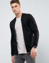 Asos Muscle Fit Jersey Bomber Jacket In Black