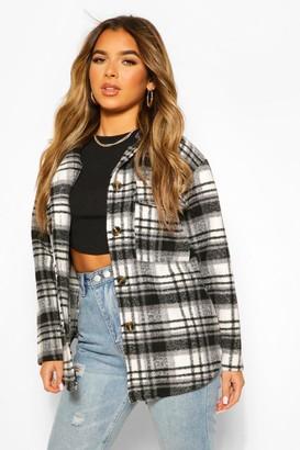 boohoo Petite Check Wool Look Longline Shirt Jacket