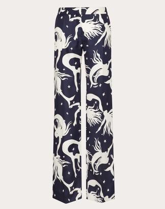 Valentino Printed Pajama Pants Women Navy Silk 100% 38