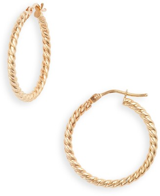 Bony Levy 14K Gold Texture Swirl Hoop Earrings