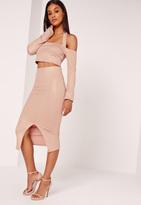 Missguided Lurex Ribbed Midi Skirt Nude