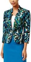 Kasper Womens Twill Printed Blazer Blue