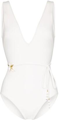 Zimmermann Kirra belted floral-embellished swimsuit