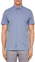 Ted Baker Newfone Chambray Geo Regular Fit Button-Down Shirt