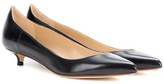 Francesco Russo Leather kitten heel pumps