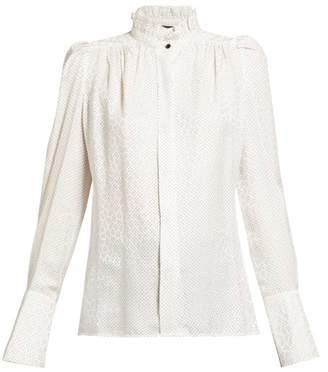 Isabel Marant Lamia Jacquard And Polka Dot Silk Blend Blouse - Womens - White Multi