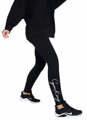 Gym King Women's Script Legging Casual Fashion Style Sport Gym Training Jogger WLG-A219J New (6 / XS/Waist 62-64 cm)