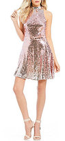 Jodi Kristopher Ombre Sequin Fit-And-Flare Dress
