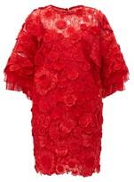 Valentino Guipure Floral Applique & Mesh Mini Dress - Womens - Red