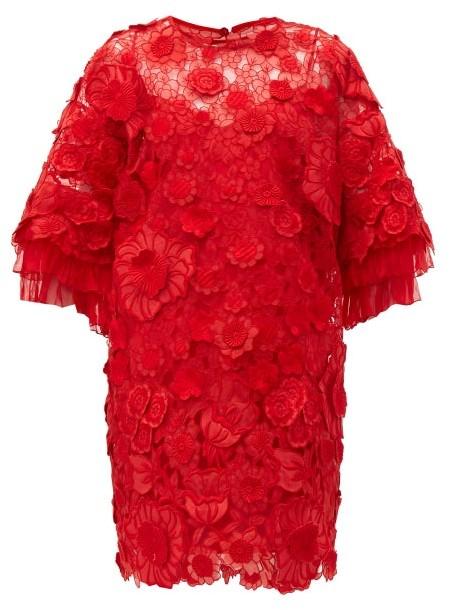 Valentino Guipure Floral Applique & Mesh Mini Dress - Red
