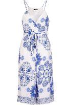 Quiz White And Blue Floral Print Culotte Jumpsuit