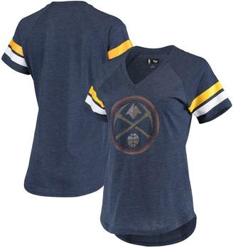 G Iii Women's G-III 4Her by Carl Banks Navy Denver Nuggets Triple Double Rhinestone Tri-Blend V-Neck T-Shirt