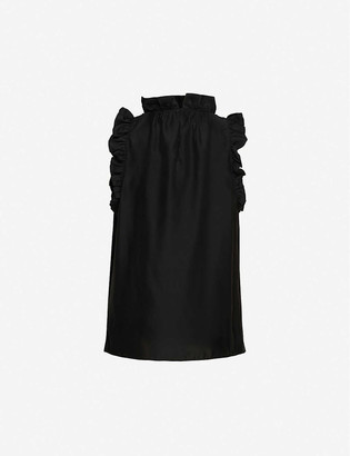 Frame Flounce silk relaxed-fit top