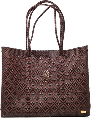 Black Burgundy Tote With Clutch