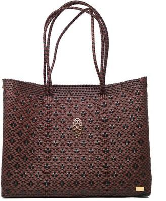 Lolas Bag Black Burgundy Tote With Clutch