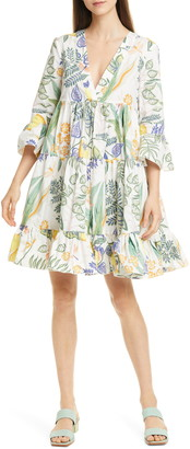 La DoubleJ Jennifer Jane Botanical Print Poplin Babydoll Dress
