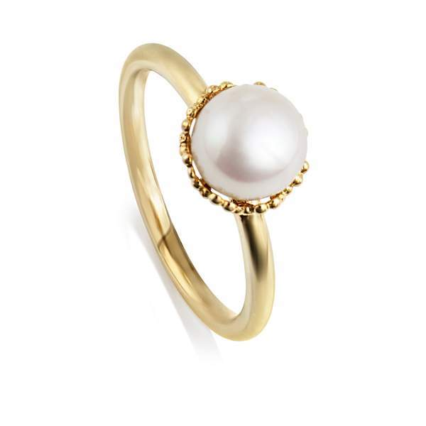 House of Fraser Jersey Pearl Emma kate white pearl gp filigree ring