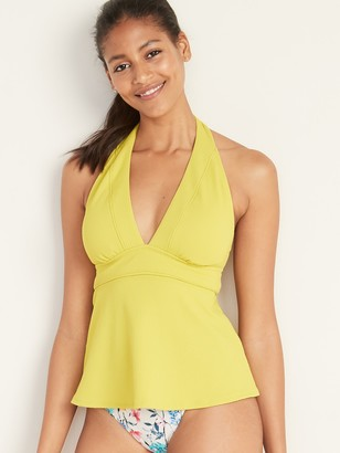 Old Navy Textured Halter Peplum-Hem Tankini Top for Women