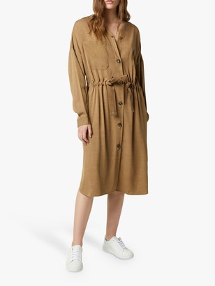 French Connection Baina Twill Belted Midi Dress, Warm Sand