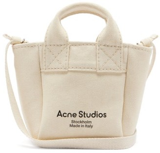 Acne Studios Aleah Logo-print Cotton-canvas Cross-body Bag - Beige