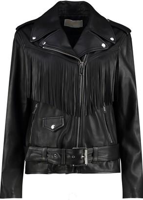 MICHAEL Michael Kors Fringed Leather Moto Jacket