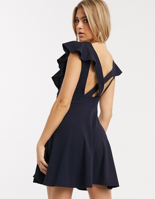 TFNC v neck frill cross back scuba skater dress
