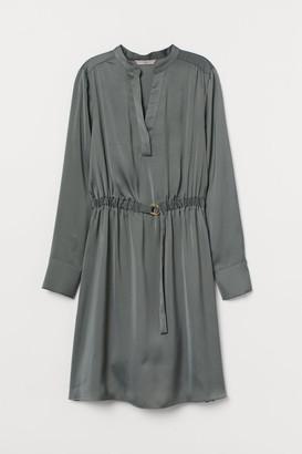 H&M V-neck Shirt Dress - Green