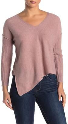 Lynk Knyt & Ribbed Knit Asymmetrical Hem Cashmere Sweater