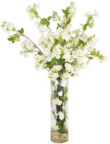 The French Bee 32 White Blossoms in Glass Vase, Faux