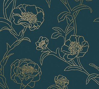 Pottery Barn Peonies Peacock Blue/Gold Wallpaper