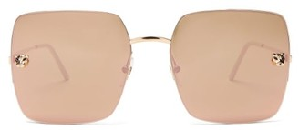 Cartier Panthere De Square Metal Sunglasses - Grey Gold