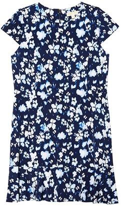 MICHAEL Michael Kors Size Poppy Flounce Seamed Dress (True Navy) Women's Dress