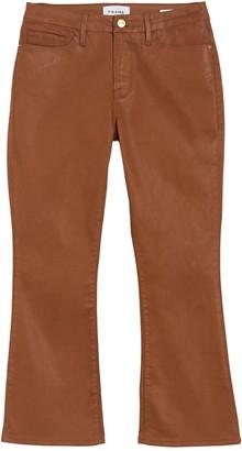 Frame Le Cropped Coated Mini Bootcut Jeans