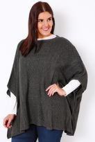 Yours Clothing Charcoal Grey Tabard With Patchwork Stitch