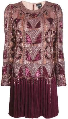 Just Cavalli sequinned fringe hem shift dress