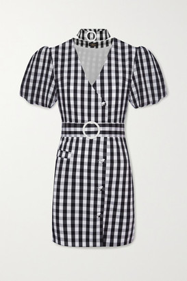 De La Vali Mila Belted Gingham Cotton-blend Mini Dress - Black