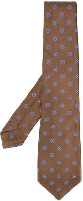 Kiton geometric pattern silk tie