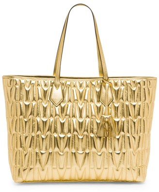 Moschino Embossed Metallic Leather Tote