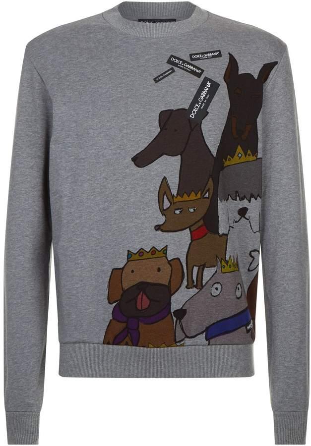 Dolce & Gabbana Dog Print Sweater