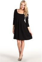 Susana Monaco Pleated Dress with 3/4 Sleeves (Black) - Apparel